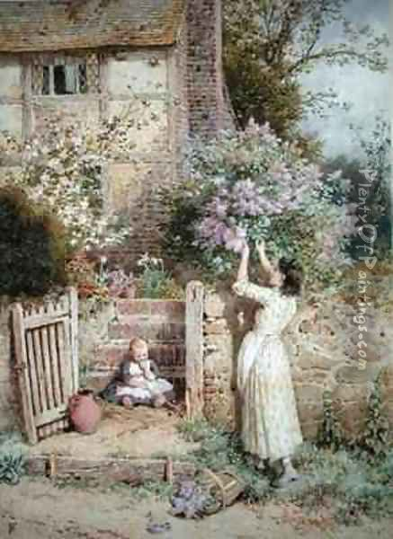 The Lilac Cottage Oil Painting - Myles Birket Foster