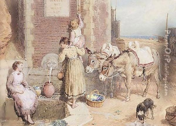 The Well At Hastings Oil Painting - Myles Birket Foster