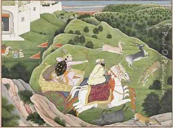 Prince Hunting Antelope and Boar from Guler Punjab Hills 1810 Oil Painting - Nainsukh Family