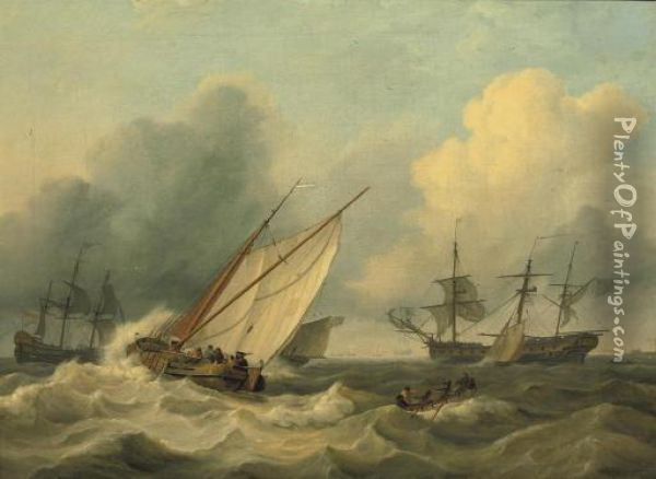 Shipping Off The Coast Of Franeker Oil Painting - Nicolaas Bauer