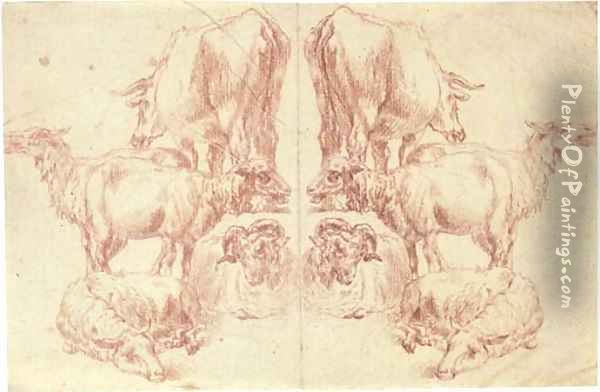 A cow and four sheep, with a counterproof of the same to the left Oil Painting - Nicolaes Berchem