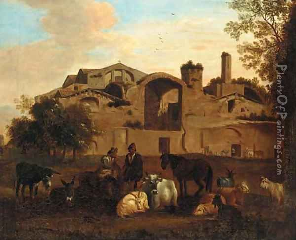 An Italianate landscape with shepherds and livestock before an Italianate town Oil Painting - Nicolaes Berchem