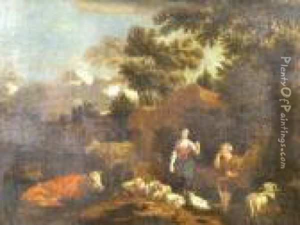 Figures In A Wooded Landscape With Sheep And Cattle Oil Painting - Nicolaes Berchem
