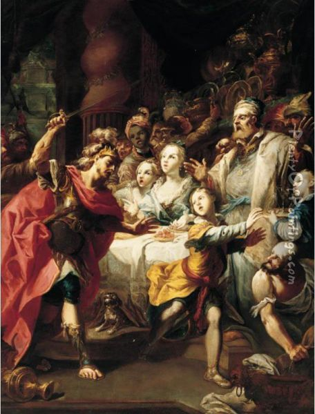A Biblical Scene With Aservant Being Driven Away By A King, Figures Restraining Him Oil Painting - Nicolas Bertuzzi L'Anconitano