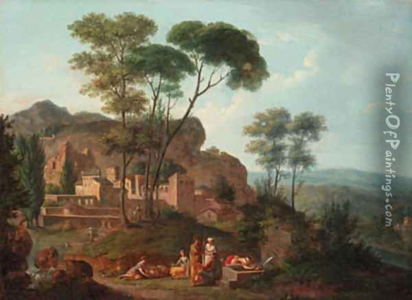 An Italianate landscape with figures resting by a fountain, a town beyond Oil Painting - Nicolas-Didier Boguet