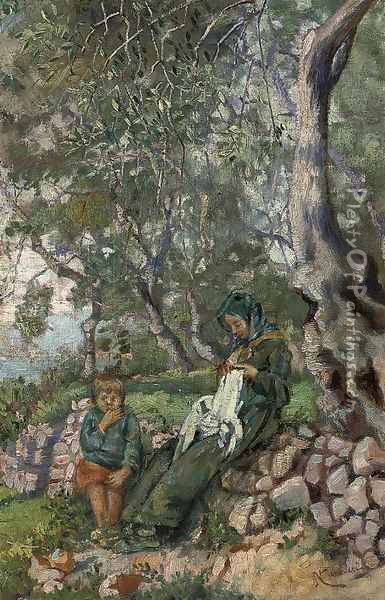 A mother and son by an olive grove before the sea Oil Painting - Nicolo Cannicci