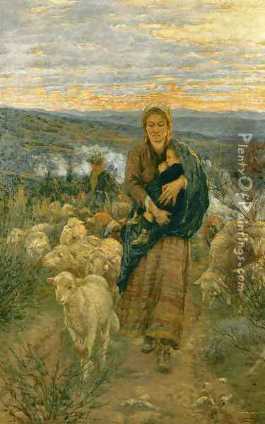 Shepherdess and Child in the Pasture Oil Painting - Nicolo Cannicci