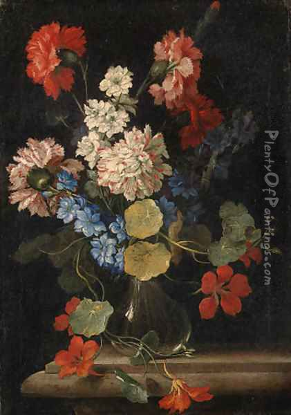 Carnations, nasturtiums and other flowers in a vase on a stone ledge Oil Painting - Nicolo Stanchi