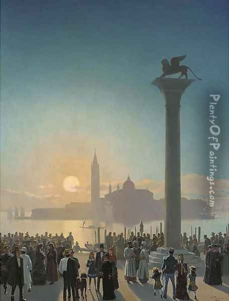 San Giorgio Maggiore seen from the Piazzetta, Venice Oil Painting - Niels Fristrup