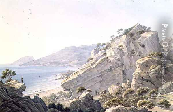 View of the Crimean coast near Oreanda, 1834 Oil Painting - Nikanor Grigorevich Chernetsov