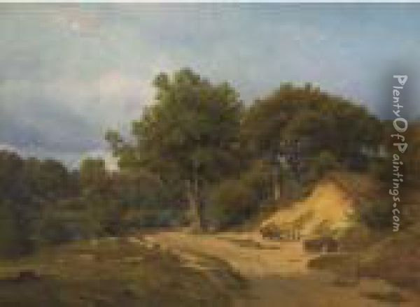 Collecting Sand At The Bend By The Lake Oil Painting - Nordahl Peter Frederik Grove