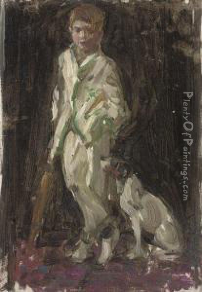 Study Of Young Boy,  Traditionally Identified As The Artist's Son,in Cricket Whites, A Bat In  His Right Hand, And A Dog By Hisside Oil Painting - Norman Garstin