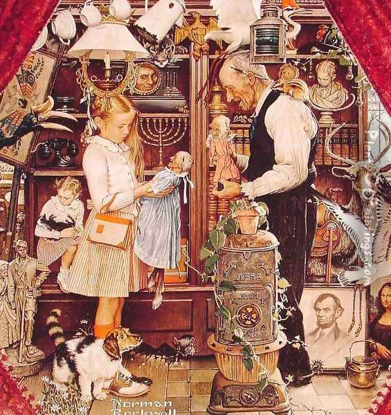 April Fools with the Shopkeeper Oil Painting - Norman Rockwell
