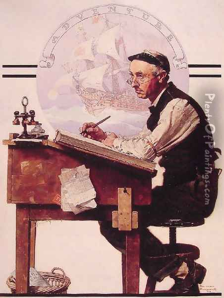 Daydreaming Bookkeeper Oil Painting - Norman Rockwell