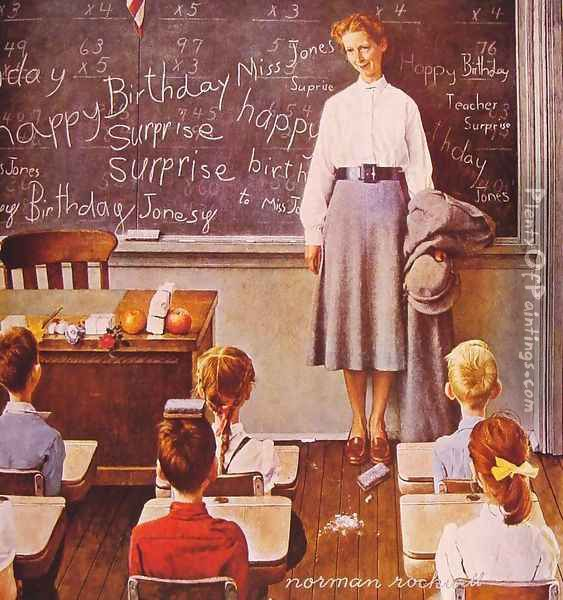 Happy Birthday Miss Jones Oil Painting - Norman Rockwell