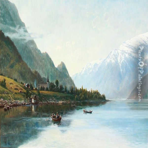 Rowing Boats On Hardanger Fiord In Norway With Snowy Mountains In The Background Oil Painting - Olaf August Hermansen