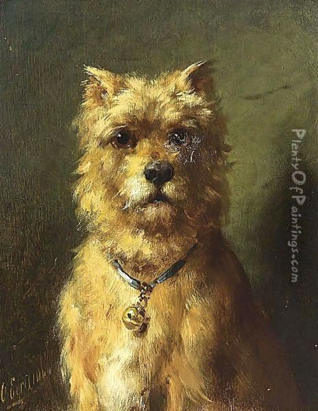 A Watchful Dog Oil Painting - Otto Eerelman