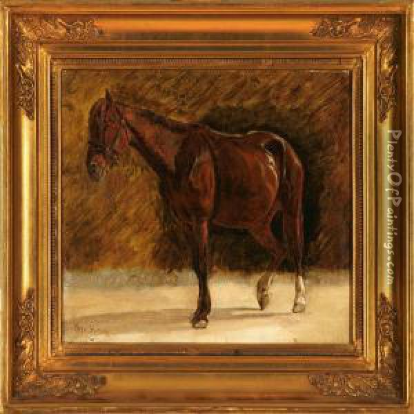 A Horse Oil Painting - Otto Haslund