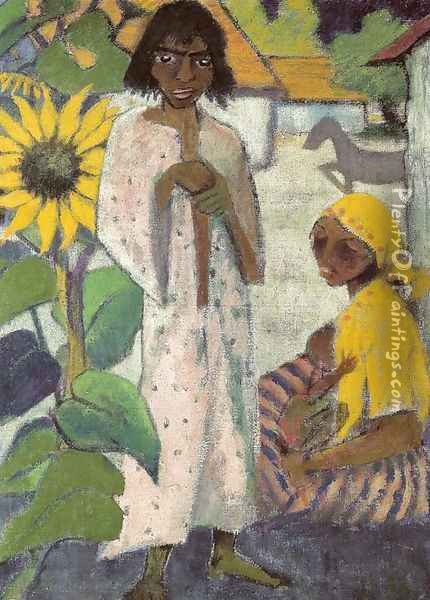 Gypsies with Sunflowers Oil Painting - Otto Mueller