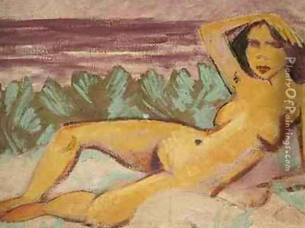 Reclining Nude 1914 Oil Painting - Otto Mueller