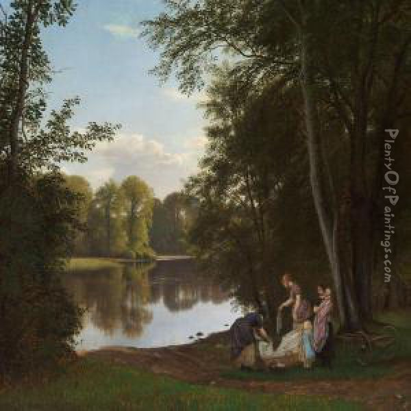Quiet Summer Evening At A Lake In The Forest Oil Painting - P. C. Skovgaard