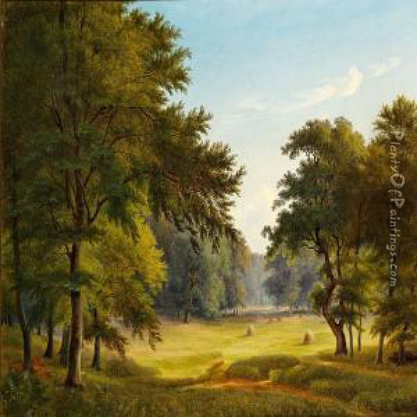 View Of Dyrehaven (the Deer Garden) North Of Copenhagen Oil Painting - P. C. Skovgaard