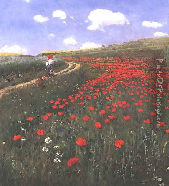 Poppies in the Field 1902 Oil Painting - Pal Merse Szinyei