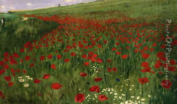The Poppy Field, 1896 Oil Painting - Pal Merse Szinyei
