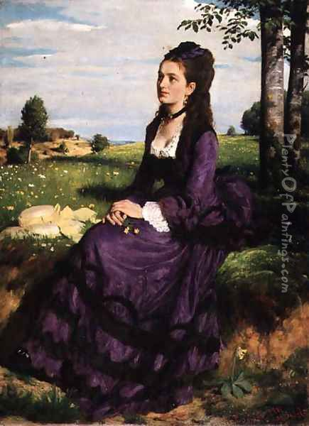 Woman in Violet, 1874 Oil Painting - Pal Merse Szinyei