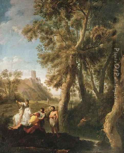 Classical figures conversing on the banks of a river Oil Painting - Paolo Anesi
