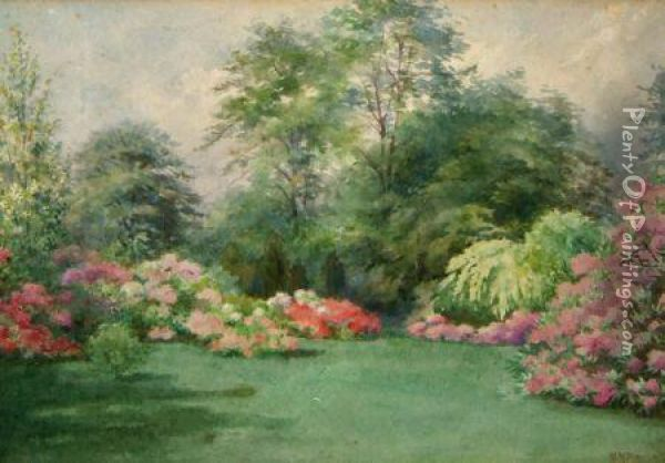 A Herbaceous Border In Summe Oil Painting - Parker Newton
