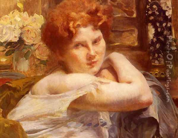 Le Femme Aux Cheveux Roux (The Woman with the Russet-red Hair) Oil Painting - Paul Albert Besnard