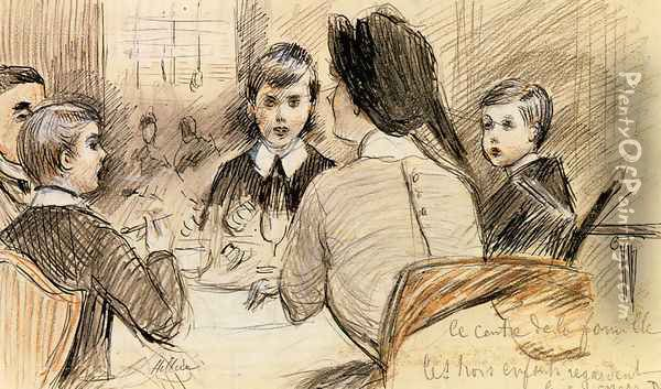 Le Centre de la Famille (or A Family Dinner at the Ritz, New York) Oil Painting - Paul Cesar Helleu