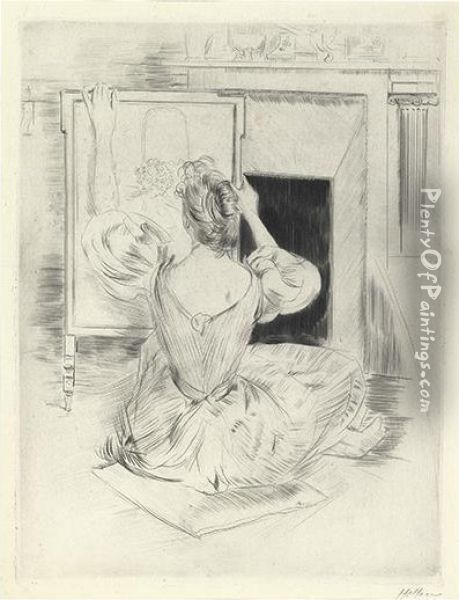 Woman Embroidering. Oil Painting - Paul Cesar Helleu