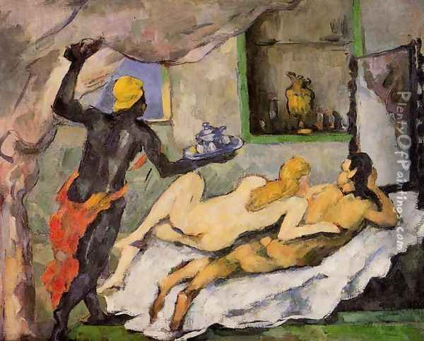Afternoon In Naples With A Black Servant Oil Painting - Paul Cezanne