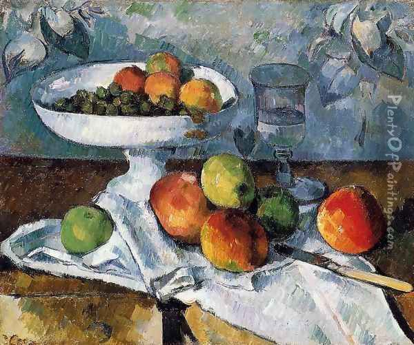 Compotier Glass And Apples Aka Still Life With Compotier Oil Painting - Paul Cezanne