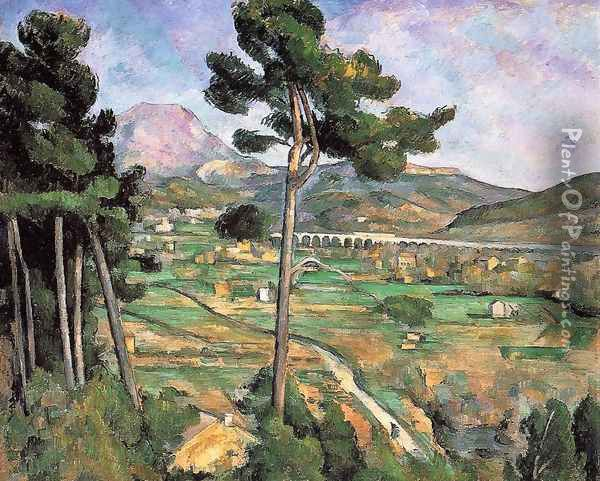 Landscape With Viaduct Mont Sainte Victoire Oil Painting - Paul Cezanne