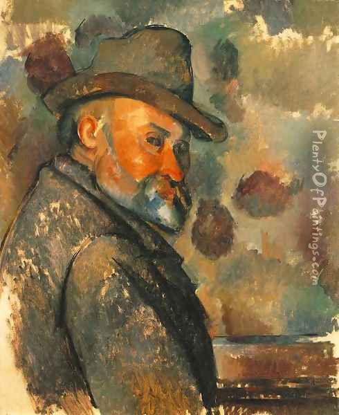 Self Portrait In A Felt Hat Oil Painting - Paul Cezanne