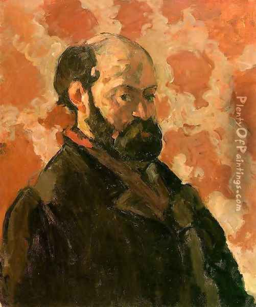 Self Portrait With A Rose Background Oil Painting - Paul Cezanne