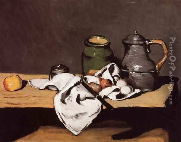 Still Life with Green Pot and Pewter Jug Oil Painting - Paul Cezanne