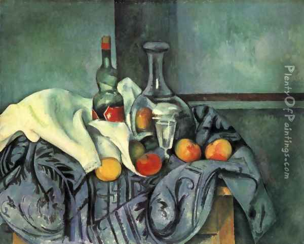 Still life with bottle and jug Oil Painting - Paul Cezanne