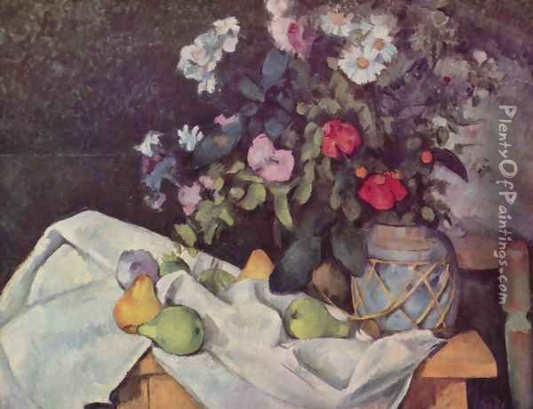 Still life with flowers and fruits Oil Painting - Paul Cezanne