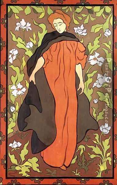 A Woman in Red Oil Painting - Paul-Elie Ranson