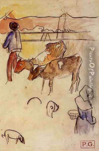 Bretons And Cows (sketch) Oil Painting - Paul Gauguin