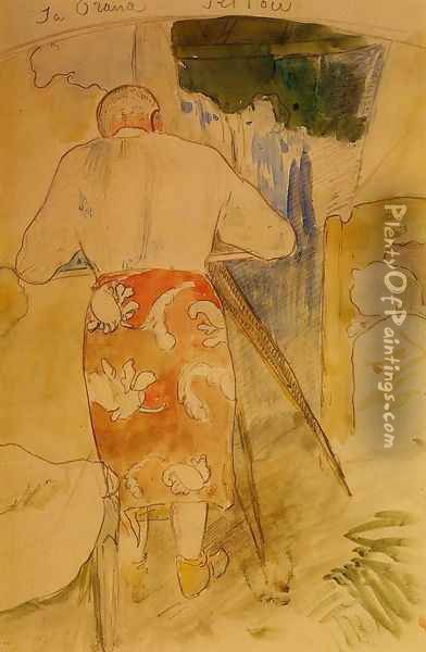 Ja Orana Ritou Aka Self Portrait Of The Artist At His Drawing Table Tahiti Oil Painting - Paul Gauguin
