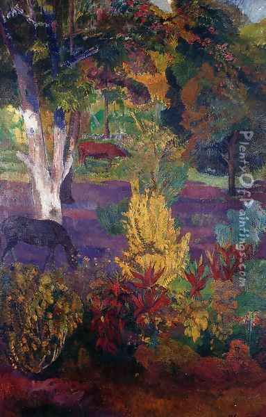 Marquesan Landscape With A Horse Oil Painting - Paul Gauguin