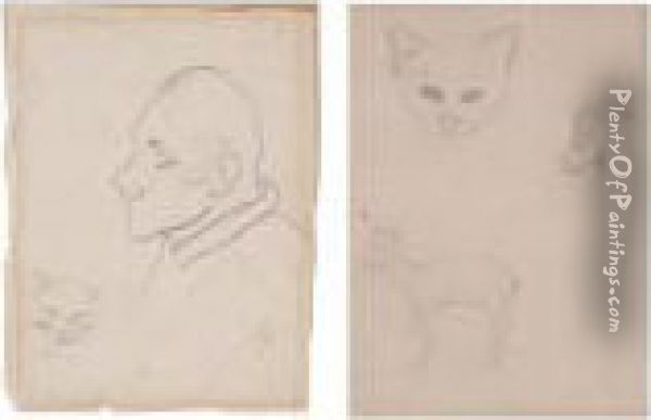 Portrait Of A Man And Animal Studies: A Pair Of Drawings Oil Painting - Paul Gauguin