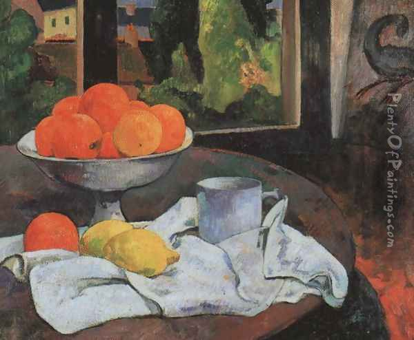Still Life With Fruit Bowl And Lemons Oil Painting Reproduction By