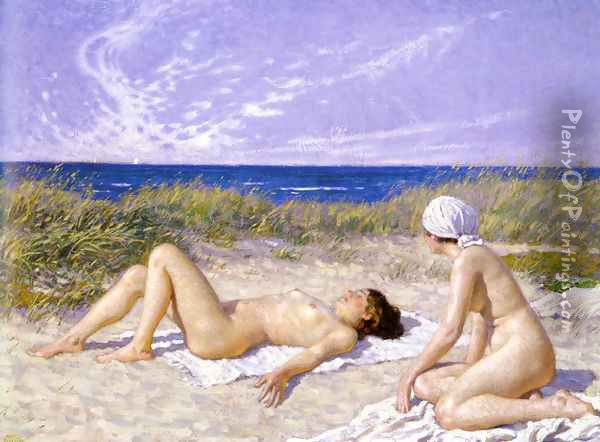 Sunbathing in the Dunes Oil Painting - Paul-Gustave Fischer