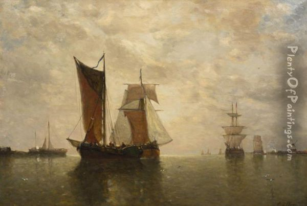 Ships At Harbor Oil Painting - Paul-Jean Clays
